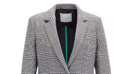 Dámsky károvaný kabát Hugo Boss. Zlacnený zo 449 eur na 309 eur.