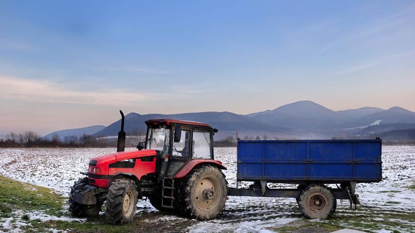 traktor, pole, hory, príroda, sneh, zima
