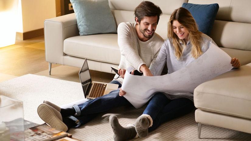 manželia, obývačka, gauč, plánovanie, plán