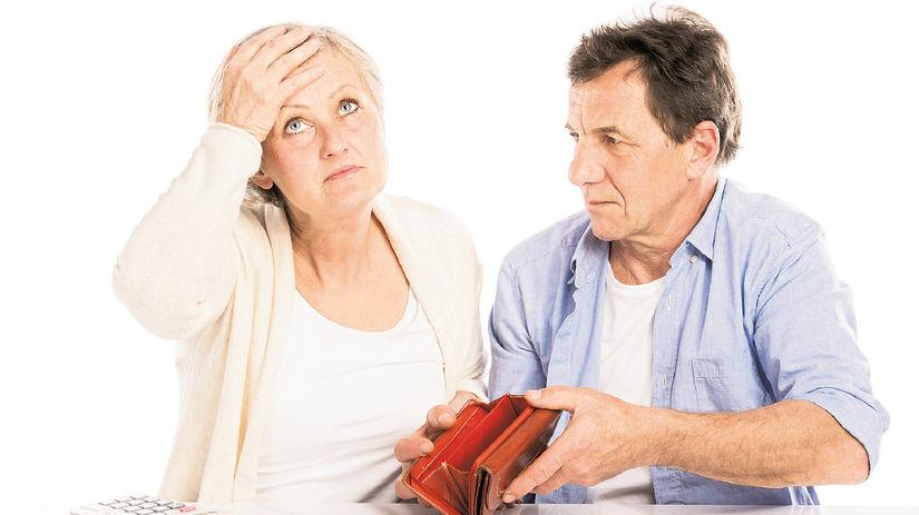 seniori, manželia, prázdna peňaženka, dlh