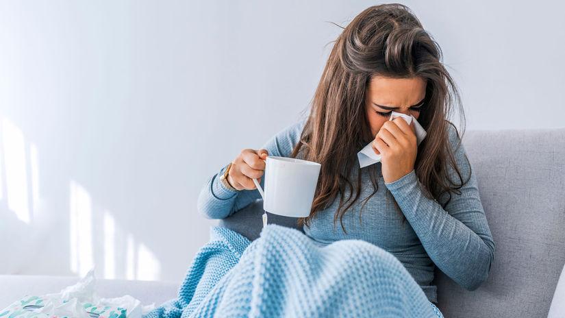 žena, prechladnutie, nádcha, chrípka, teplota,...