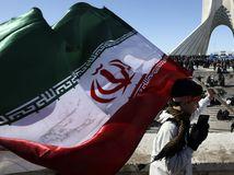 Irán USA Rúhání revolúcia islamská výročie oslavy vlajka