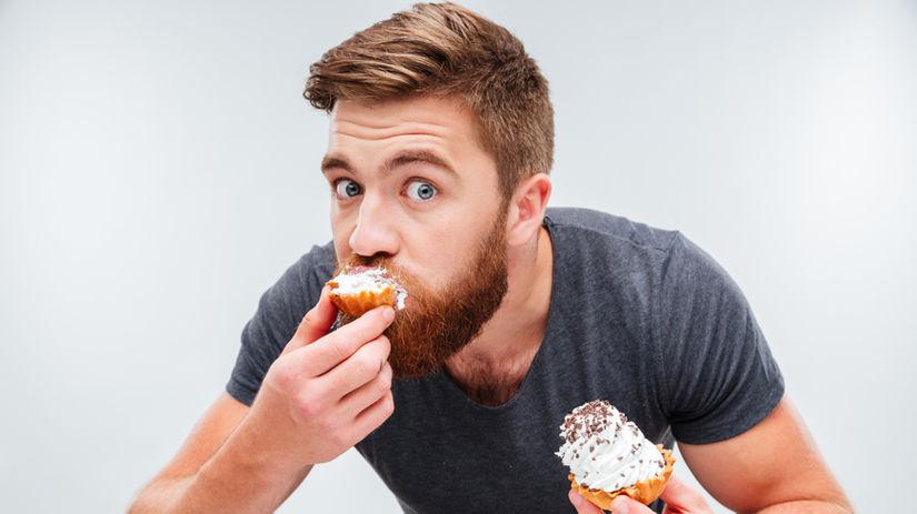 muž, prichytený, maškrtenie, sladkosti, hriech