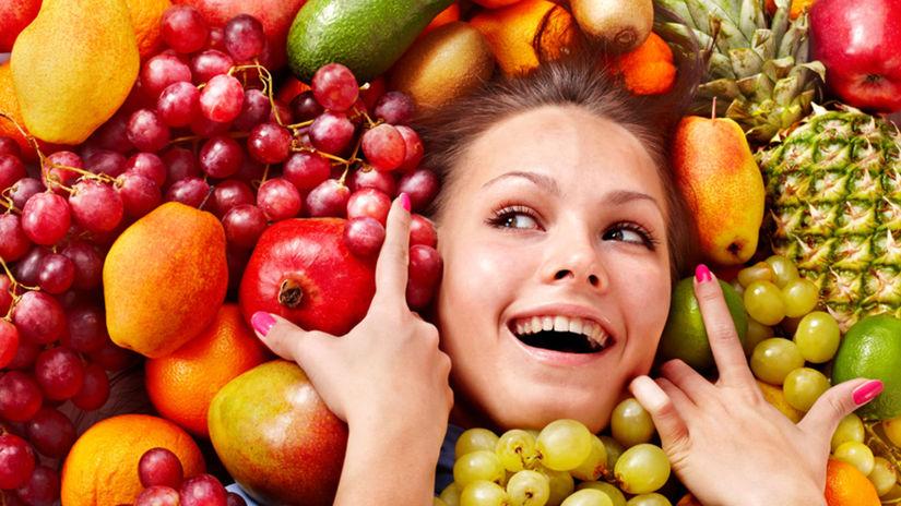 žena, úsmev, ovocie, hrozno, ananás