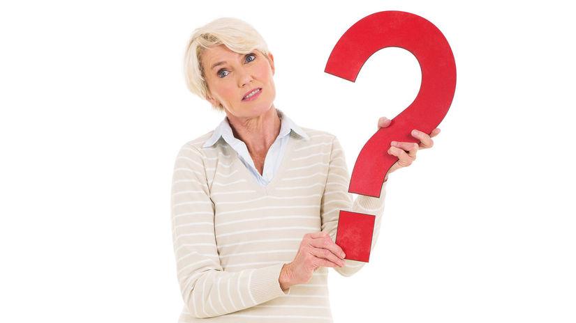 dôchodkyňa, otáznik