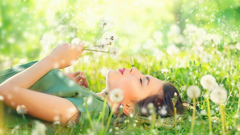 jar, lúka, tráva, pele, žena