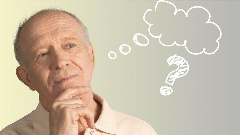muž, senior, zamyslený, rozmýšľanie