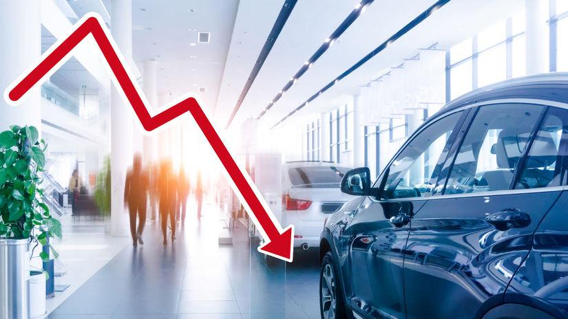 auto, sipka, pokles, pokles predajov