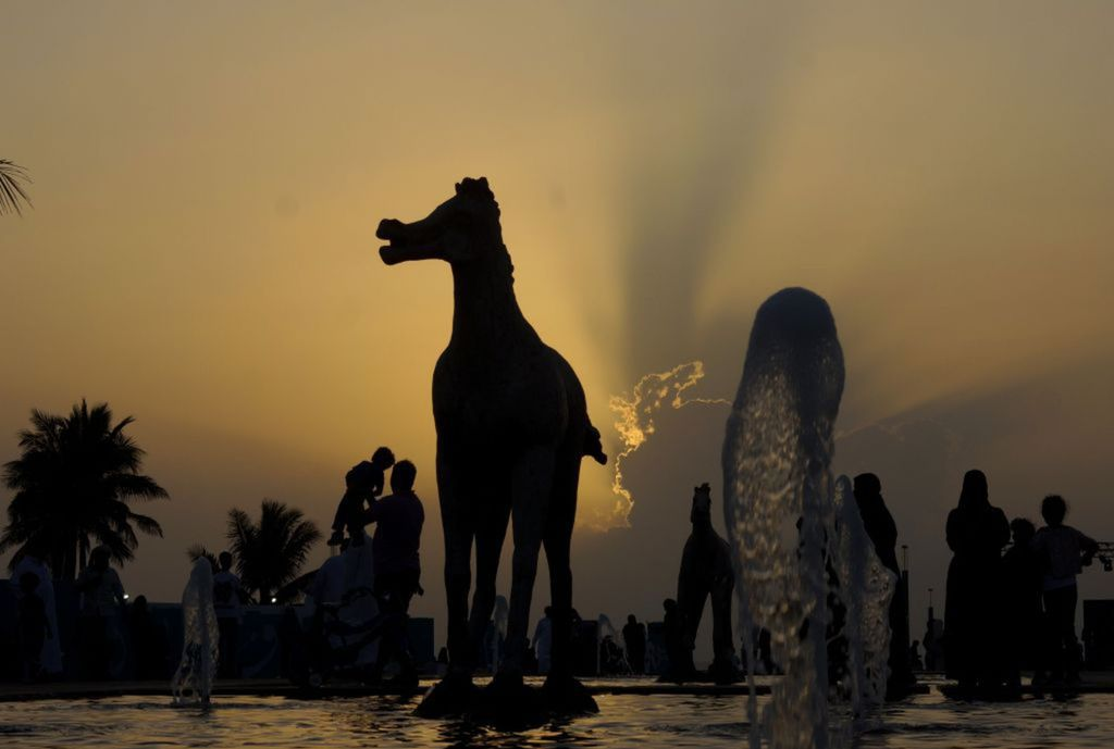 Saudská Arábia, kôň, socha,