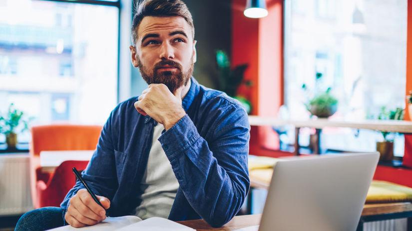 zamyslenie, muž, práca, písanie, plánovanie