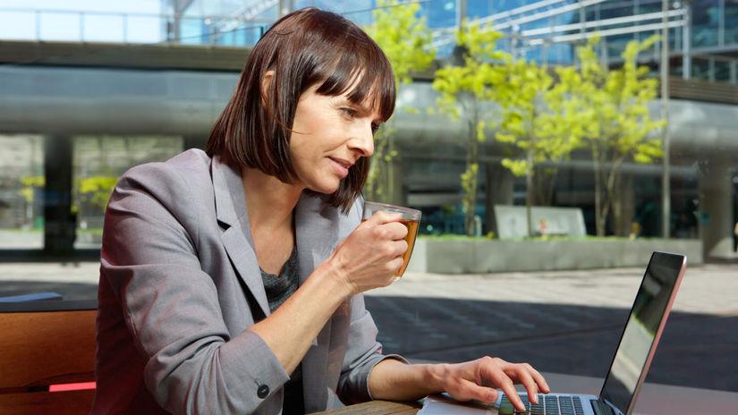 žena, kariéra, čaj, práca