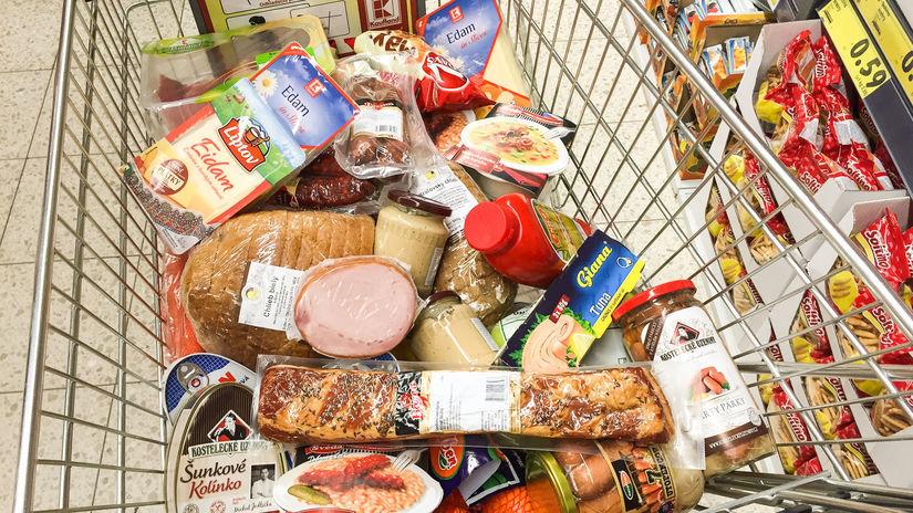 košík, nákup, potraviny
