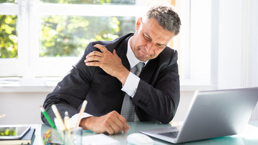práca, kancelária, sedenie, bolesť
