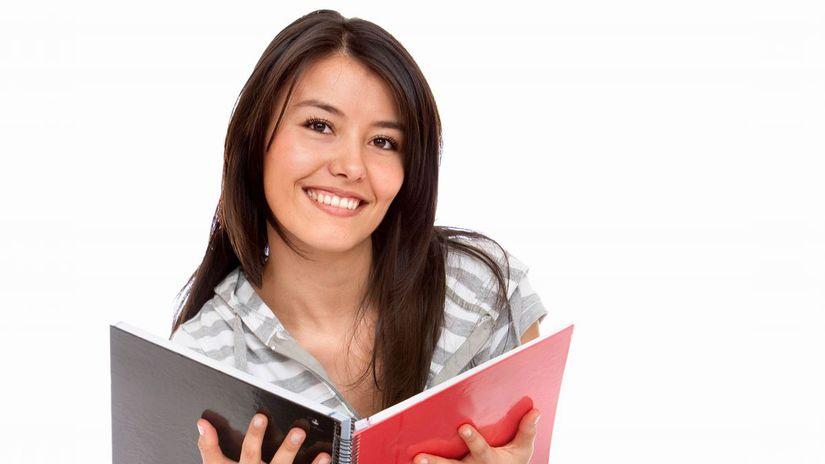 žiačka, študentka, knihy, úsmev, učenie,...