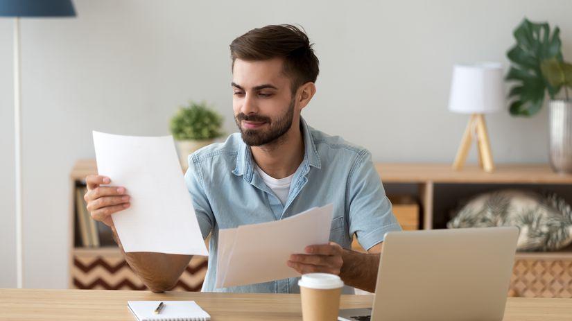 muž, práca, papiere, úsmev, kancelária