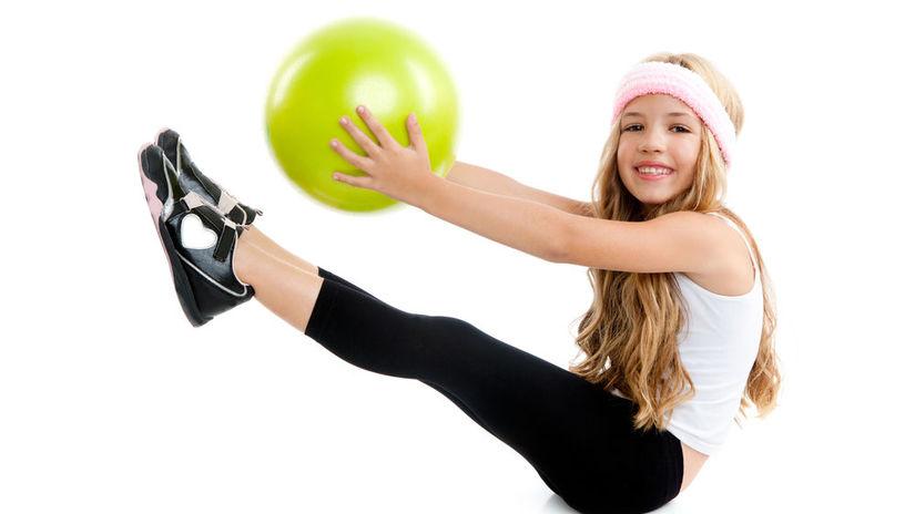 overball, deti, cvičenie, školák, dievča,...