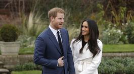 Záber z 27. novembra 2017: Princ Harry a jeho snúbenica Meghan Markle na stretnutí s médiami pri ohlásení ich zásnub.
