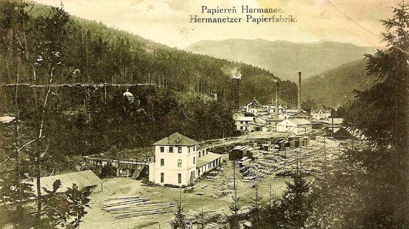 Harmanecké papierne, pohľadnica, história