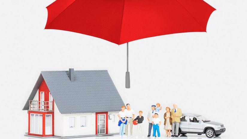 poistenie, dáždnik, dom, auto, rodina, ľudia