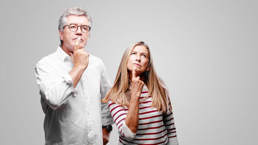 manželia, dôchodcovia, seniori, rozmýšľanie,...