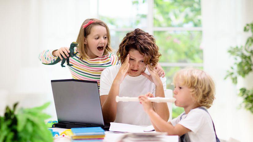 mama, deti, práca z domu, hluk, výchova