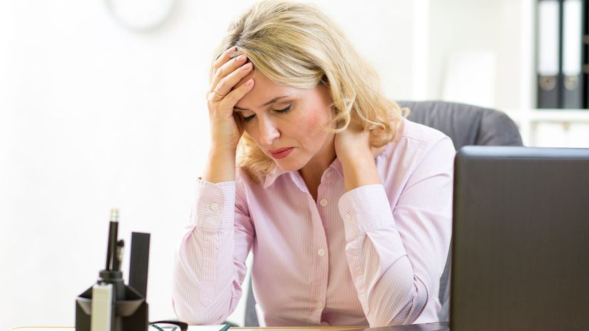 žena, práca, kancelária, problém, starosti
