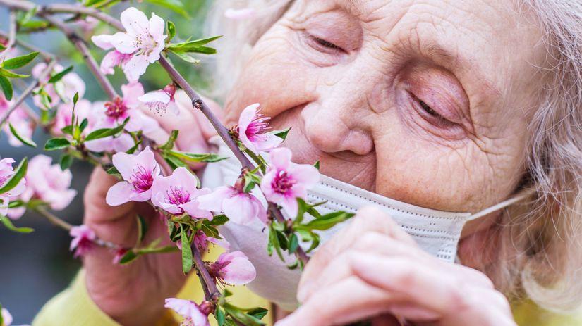 babička, dôchodkyňa, rúško, kvety, vôňa, voňať