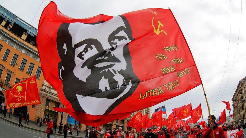 Lenin, vlajka, komunisti, sviatok práce