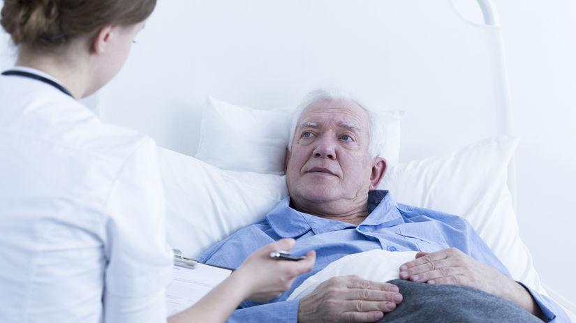 dôchodca, posteľ, choroba, opatrovanie