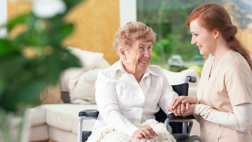 dôchodkyňa, opatrovateľka, invalidný vozík,...