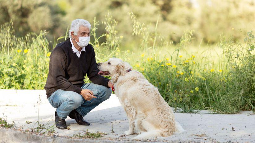 dôchodca, rúško, prechádzka, pes
