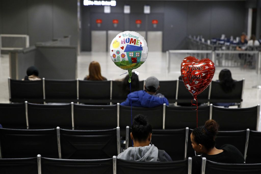 letisko, čakáreň, balóny, vítanie, Washington,