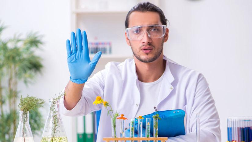 vedec, laboratórium, pozdrav, stop, alergia