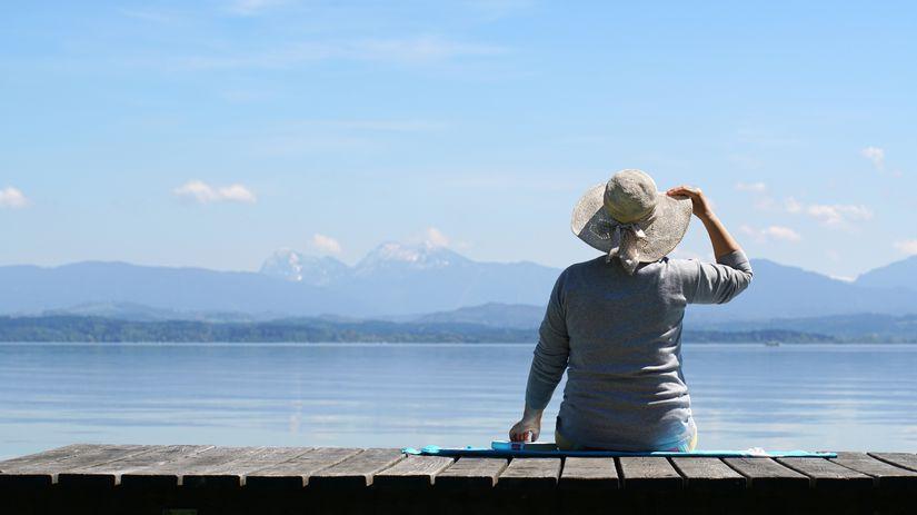 oddych, dovolenka, dôchodkyňa, jazero, hory