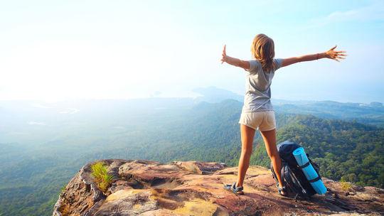 turistika, žena, túra, výhľad, hory