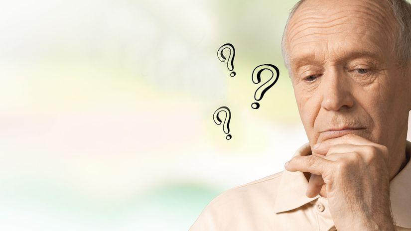 penzista, otázky, rozmýšľanie, otázniky