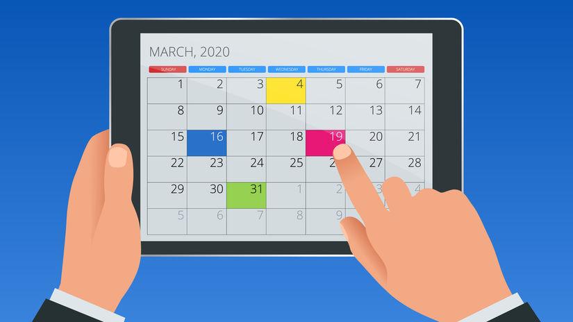 marec, kalendár, tablet