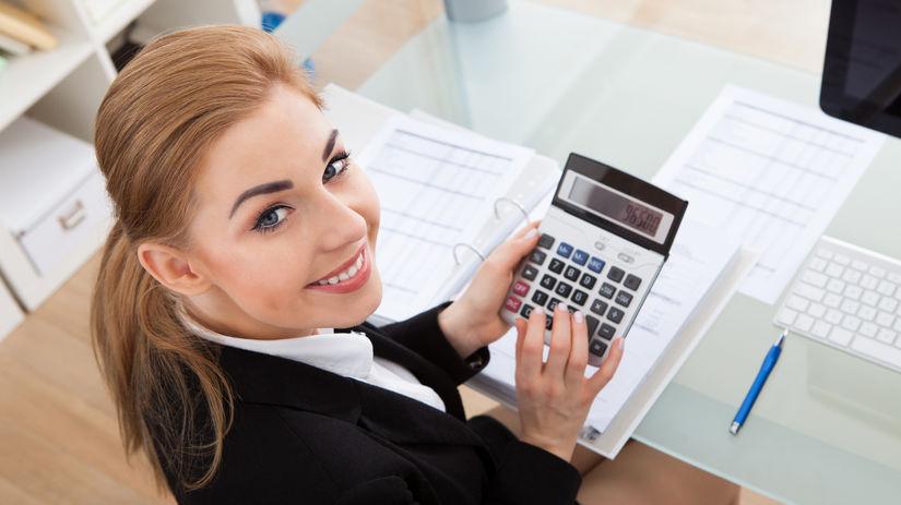 podnikanie, žena, kalkulačka, úsmev, papiere,...