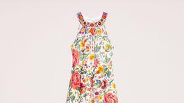 Šaty s florálnym motívom a ozodbnou výšivkou okolo goliera Twinset, predávajú sa za 342 eur.