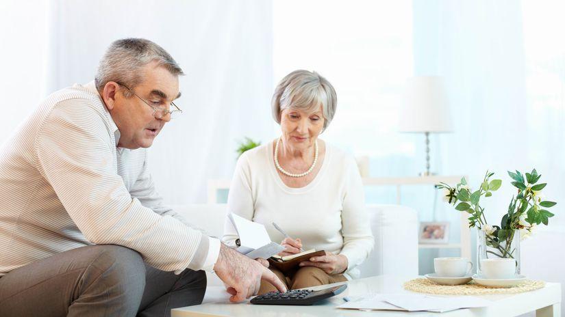 penzisti, manželia, kalkulačka, počítanie