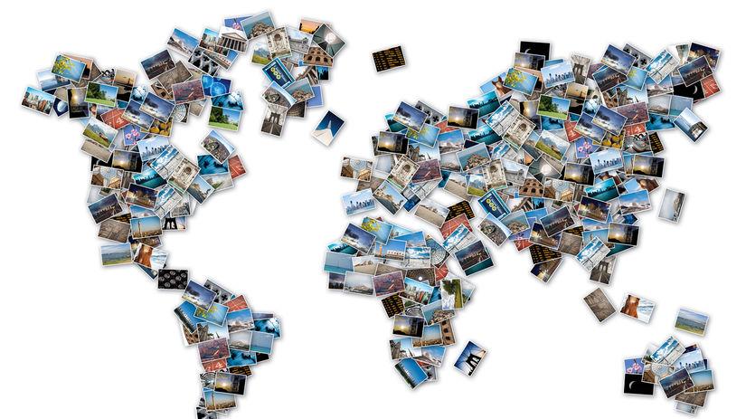 fotografie, pohľadnice, mapa sveta