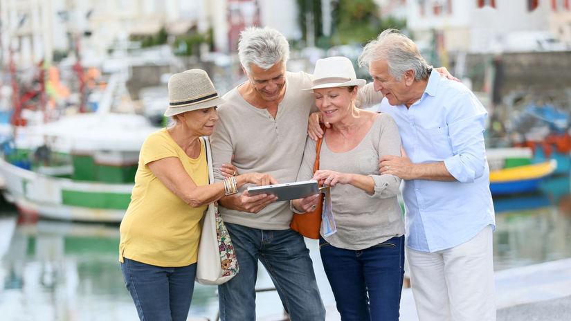zájazd, cestovanie, skupina, tablet