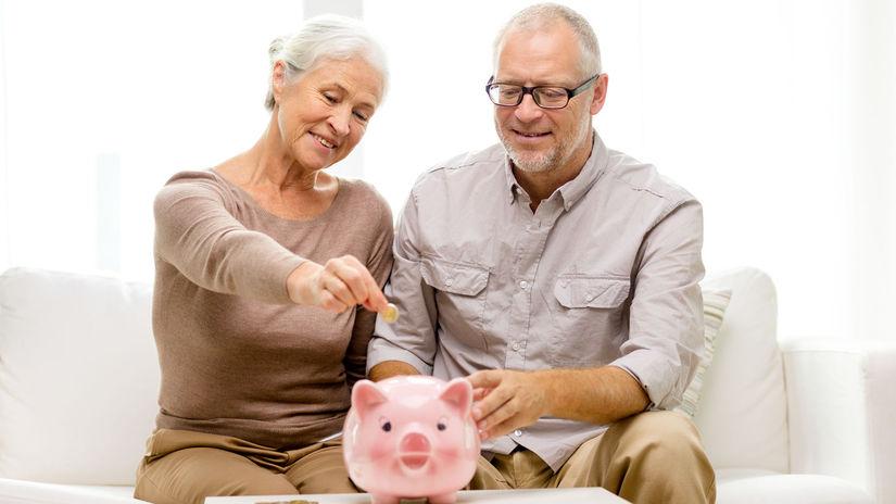 dôchodcovia, manželia, penzisti, prasiatko,...