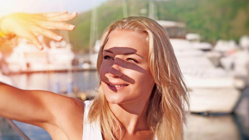 žmúrenie, slnko, oči, tieň, žena
