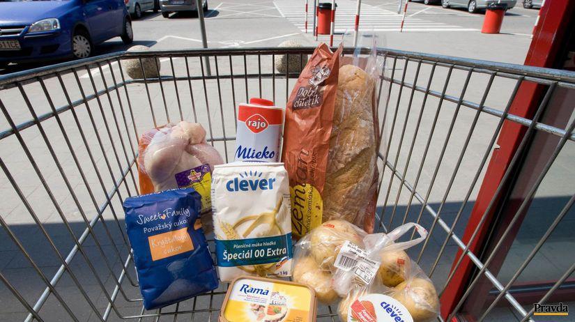 Billa, nákupný vozík, potraviny, nákup