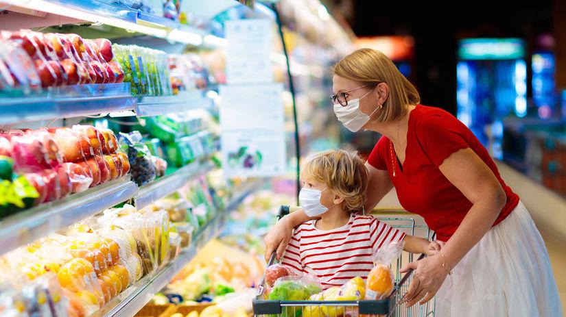 nakupovanie, rúška, mama, dieťa, potraviny