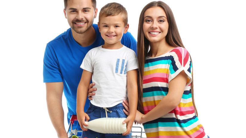 rodina, nakupovanie, radosť, potraviny