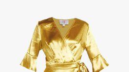 Dámska zavinovacie šaty so zlatým efektom U Collection by Forever Unique, predáva za 105 eur Zalando.