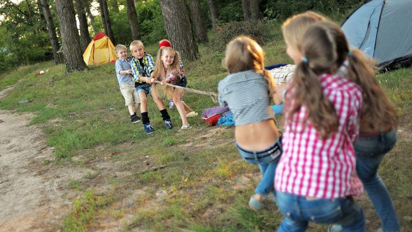 lano, deti, leto, tábor, zábava, hra