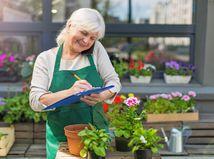 dôchodkyňa, práca, kvetinárstvo, písanie, telefonovanie